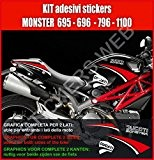 0006 - Lot d'autocollants pour Ducati Monster 695-795-796-1100 à carénage noir, kit2, couleurs personnalisables