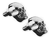 2 Boulons Vis Skull tête de mort métal chrome motos customs et Harley