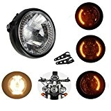 7 Pouce 35W LED Moto H4 Phare Headlight Ambre Avec Support et Attache Pour Harley Honda Yamaha