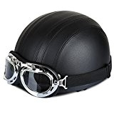 Annong Casque de Moto et Velo Bol Lunettes Retro Style de Vintage Cuir Harley Casque Moitié Helmets 54-60cm (Noir))