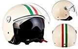 ARROW AV-63 Italy Creme Chopper Casque Jet Mofa Vespa Scooter Pilot Helmet Moto Retro Vintage Biker Demi-Jet Cruiser Bobber, ECE ...