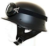 ATO-Helme - Casque Moto Vintage Avec Lunettes Style Wehrmacht - L 59/60Cm Noir Mat