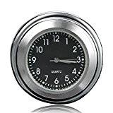 AUDEW 7/8'' 22cm Universel Moto Horloge de Guidon Etanche Cadran Noir