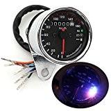 AUDEW Universel LED Moto Odomètre Tachymètre KMH Compteur Vitesse Manomètre Gauge