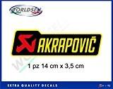 Autocollant AKRAPOVIC 80 degrés 14x3,5 Aprilia BMW Honda Yamaha Suzuki Kawasaki Ducati