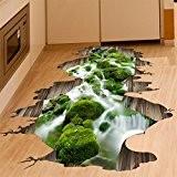Autocollant muraux 3D Stream View, décalcomanies murales amovibles Vinyl Art Living Room (Courant)