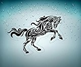 autocollant sticker voiture moto macbook deco cheval tribal noir animaux frigo