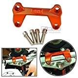 BJ Global Lot de 1 orange de CNC en aluminium pour moto guidon support pince pour coupe pour KTM Duke 390 200 125 la ...