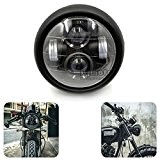 BJ Global Moto Lampe frontale LED 61/5,1cm Lampe projecteur daymaker Phare avant pour vélo Bobber/Cafe Racer pour Harley