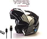 casque bluetooth 4 Moto Modulable Viper V131 - Couleur : Noir Brillant - Taille: L