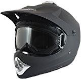 Casque et lunettes protectrices de moto-cross - BMX/tout-terrain - enfant - noir/rouge/bleu mat - Noir - S (53-54 cm)