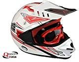 Casque et lunettes protectrices de moto-cross - enfant - Rouge - M (49-50 cm)