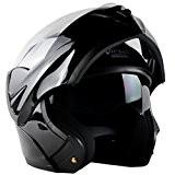 Casque modulable moto scooter ville homologué intégral avec double écran solaire pour homme femme,Noir brillant (XL)