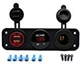 Chargeur Voiture Motocyclette + Prise Allume-Cigare + Voltmètre Voltage RAXFLY Prise avec Double USB Ports 5V 3.1A Convient avec Voiture ...