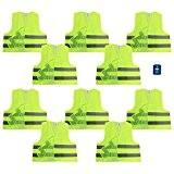 Com-Four Lot de 10JAUNES Gilet de sécurité 100% polyester taille unique DIN 471+ Gratuit Disque de stationnement avec grattoir et ...