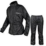 Combinaison Textile Impermeable Anti Pluie Blouson Pantalon Moto Motard noir XL