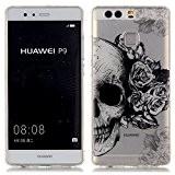 Coque pour Huawei P9, Etui pour Huawei P9, Cozy Hut® Transparente Ultra Mince Souple TPU Silicone Avec Skull Flower Dessin ...