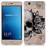 Coque pour Huawei P9 Lite, Etui pour Huawei P9 Lite, Cozy Hut® Transparente Ultra Mince Souple TPU Silicone Avec Skull ...