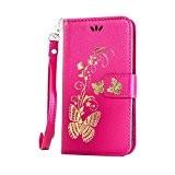 Coque pour LG K10 ,Housse en cuir pour LG K10,Cozy Hut Bronzante Papillon Fleur imprimé étui en cuir PU Cuir ...