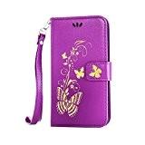 Coque pour LG LS770 ,Housse en cuir pour LG LS770,Cozy Hut Bronzante Papillon Fleur imprimé étui en cuir PU Cuir ...