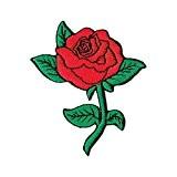 Écusson bügelbild patch iron on patchs motif fleurs rose rouge pour vêtements