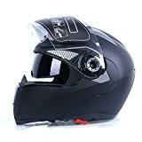 Frenshion Casque de moto pour homme Unisex Casques de moto-cross noir Frosted Full Face Visière Double Visage Off Road Lens ...