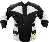 German Wear de Veste de Moto, Noir/Gris Clair, XL