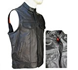 GILET CUIR BIKER SONS OF ANARCHY DOUBLE FERMETURE TAILLE XXL