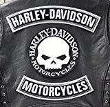 GZM Skull Willie G. Harley Davidson-rustines pour gilet ou veste, taille L (Lot de 3)