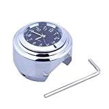 HoneyHome Montre Horloge de Guidon Universel pour Moto 22mm-25mm Cadran Noir