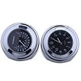 HoneyHome Motorcycle Thermomètre Montre de Guidon Etanche Cadran Horloge Jauge de Temps