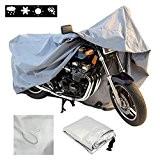 Housse de Protection pour Moto, FREESOO Couverture Imperméable en Oxford pour Moto, Scooter, XL, Couleur: Argent