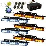 HQRP Stroboscopes jaunes et blanches lightbars LED véhicule camionnette camions 6 panneaux gyrophares 54 LED 12v DC pour van, camion ...