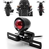 katur 1rouge queue pour moto 12V lumière de frein Stop Lumière de Course avec support plaque immatriculation Noir pour Harley ...