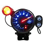 "KKMOON 3.5 "" Kit Tachymètre Gauge LED bleue 11000 RPM avec réglable Shift Light + Stepping Motor noir"