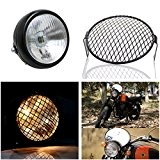 "LEAGUE&CO 6.3""/16CM 12V 35W Grill Retro Moto Side Mont-phares et le capot de masque Cafe Racer Old School Bobber"