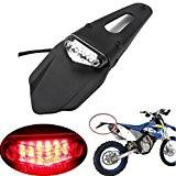 LEAGUE&CO Feu arrière & frein feux stop LED Fender Pour Moto Universel Enduro Trail Bike Trials DRZ400 (Lens transparent)