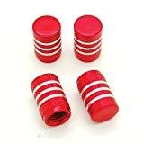 Lot de 4 bouchons de valve en Alu pour pneus de vélo, moto, voiture - Ref03 - Rouge
