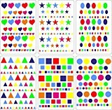 Lot gommettes autocollantes 414 carré rond cœur oval triangle carte scrapbooking