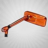 Magazi rétroviseurs orange aluminum style Moderne pour moto 8mm x 1.25 adaptateurs