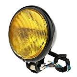 """MagiDeal 5"""" Phare Lampe Avant Pour Harley Accessoire Éclairage Ampoules Extérieurs Moto Pièce - Jaune-Noir"""
