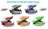 moto casque 3GO E66X FLASH MX Adulte casque moto motocross sport quad enduro ECE ACU casque certifié + X1 lunettes ...