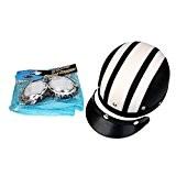 Moto Casque Bol avec Visière Lunettes de Protection Rétro - Blanc