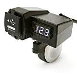 Moto Gps Téléphone Cellulaire Usb Prise De Courant Chargeur + Bule Conduit Voltmètre