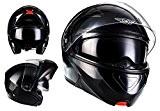 MOTO HELMETSF19 Gloss Black Urban Casque Modular Cruiser MOTO HELMETSIntegral Flip-Up Helmet Mofa Scooter, ECE certifiés, compris le pare-soleil, compris ...