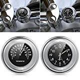 "motorraduhr Horloge montres horloge moto guidon universel Thermomètre Température 7/8"""