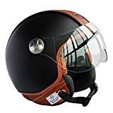 Peda Italian Design (Moca B) ECE DOT Motorcycle Helmet Vintage style en cuir pour Vespa, Unisexe Open Face ITALIE Jet ...