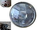 """Phare avant style Lucas acier noir 7"""" (18cm) avec contour chrome 12V 55W marqué-E avec boîtier ampèremètre idéal pour moto ..."""