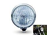 Phare Moto Noir et Chrome Cafe Racer 14,5cm 12V 55W Verre Transparent Style Bates