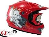 Qtech - Casque et lunettes protectrices de moto-cross - enfant - Rouge - M (55-56 cm)